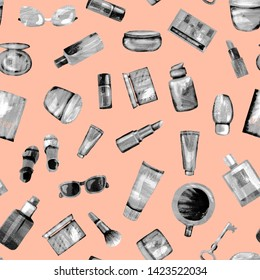 Seamless pattern of cosmetic products from black-white textural paper on a light orange BG. Coffee, passport, key, glasses, perfume, lipstick, cream, jar, powder, shadows,bottle,brush, tube,concealer