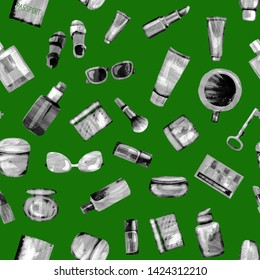 Seamless pattern of cosmetic products from black-white textural paper on a vegetable green. Coffee, passport, key, glasses, perfume, lipstick, cream, jar, powder, shadows,bottle,brush, tube,concealer