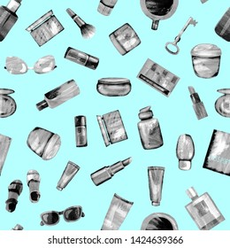 Seamless pattern of cosmetic products from black-white textural paper on a light blue BG. Coffee, passport, key, glasses, perfume, lipstick, cream, jar, powder, shadows,bottle,brush, tube,concealer