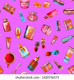 Seamless pattern of cosmetics and accessories on a purple background. A bright summer illustration of textural paper made by hand. Cup of coffee, shoes, key, glasses,passport, cosmetic products.