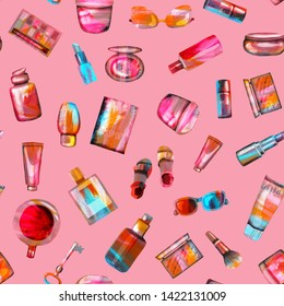 Seamless pattern of cosmetics and accessories on a pink background. A bright summer illustration of textural paper made by hand. Cup of coffee, shoes, key, glasses,passport, cosmetic products.