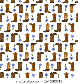 Seamless pattern of cowboy boots, flowers hat and other objects.