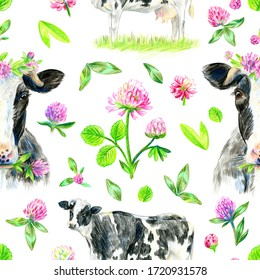 Seamless pattern with cows and clover on a white background. Pencil sketch.