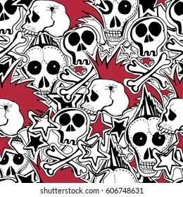 vector seamless pattern crazy punk rock stock vector royalty free