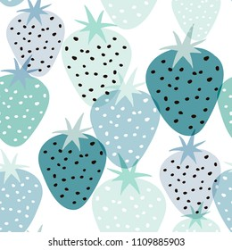 Seamless pattern with creative strawberries. Hand drawn fruits trendy background. Great for fabric and textile.