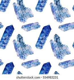 Seamless pattern with crystal. Watercolor illustration.