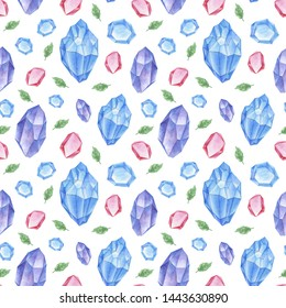 Seamless pattern with crystals and leaves