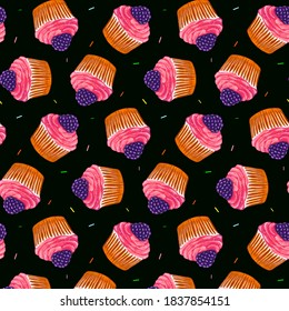 Seamless pattern with a cupcake with blueberries and with pink cream. On a dark background. Muffin. Sweet pastries decorated with blueberries with a leaf.