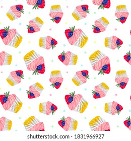 Seamless pattern with a cupcake with strawberries and blueberries and with pink cream. On a white background. Muffin. Sweet pastries decorated with strawberries and blueberries with a leaf.