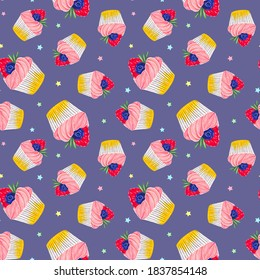 Seamless pattern with a cupcake with strawberries and blueberries and with pink cream. On a purple background. Muffin. Sweet pastries decorated with strawberries and blueberries with a leaf.