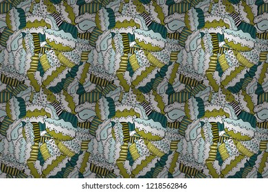 Seamless pattern of cupcakes on a white, yellow and neutral background. Wrapping paper. Raster illustration.