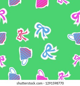 Seamless pattern  of  cups, halftone, bows, dashed lines, labels . Hand drawn.