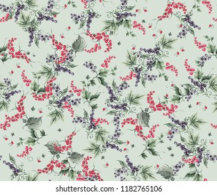 Seamless pattern with currant on a green background