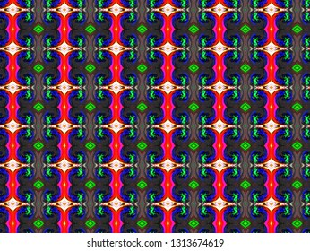 Abstraкt seamless pattern with a curves and stripes in a bright colors for design