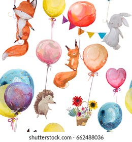 seamless pattern with cute animals with balloons