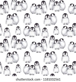 Seamless pattern with cute baby penguins. Winter illustration. Watercolor on white background.