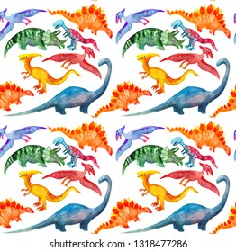 Seamless pattern with cute cartoon dinosaurs on white background.  Perfect for kids fabric, textile, wallpaper. Cute repeatable dino illustration
