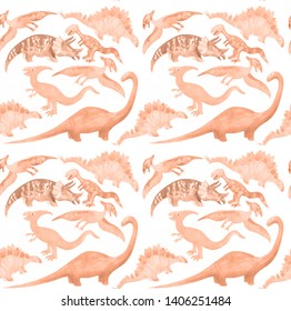 Seamless pattern with cute cartoon dinosaurs in pale brown colors. Perfect for kids fabric, textile, wallpaper. Cute repeatable dino illustration
