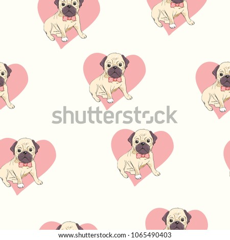 Seamless Pattern Cute Cartoon Dog Puppies Stock Illustration