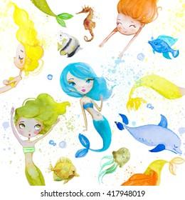 seamless pattern with cute cartoon mermaids
