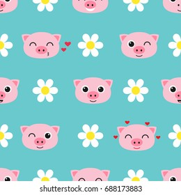 seamless pattern with cute cartoon piglets