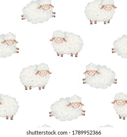 seamless pattern cute, curly lamb cuddles and lay, count sheep before going to bed, childrens watercolor illustration, childrens design of cards, invitations