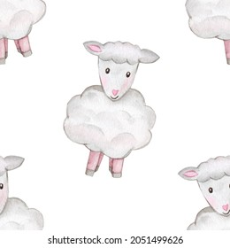 Seamless pattern cute, curly lamb cuddles and lay, count sheep before going to bed, childrens watercolor illustration, childrens design of cards, invitations. Watercolor drawing cute sheep pattern