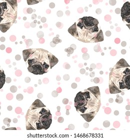 Seamless pattern cute design. Mixed background with pug dogs, polka dots and watercolor effect. Textile print for bed linen, jacket, package design, fabric and fashion concepts.