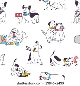 Seamless pattern with cute dogs demonstrating bad habits and behavior. Backdrop with naughty domestic animals, mischievous pets. Colorful hand drawn illustration for wrapping paper, wallpaper.