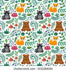 Seamless pattern with cute forest animals. Children's illustration.