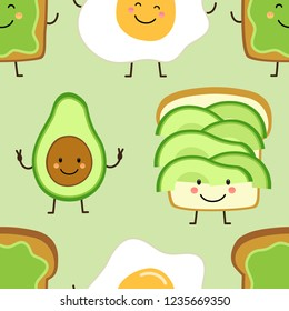 Seamless pattern with cute hand drawn cartoon characters of avocado, toast and fied egg for your decoration
