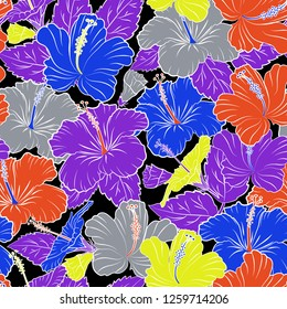 Seamless pattern with cute hibiscus flowers in blue, gray and violet colors. Spring vintage floral background. Beautiful texture.