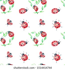 Seamless pattern with cute ladybugs; watercolor hand draw illustration; with white isolated background