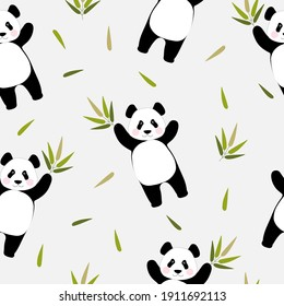 Seamless pattern with cute pandas holding a bamboo branch in their paws. Chinese bear for printing on fabric, textiles, bedding, holiday paper.