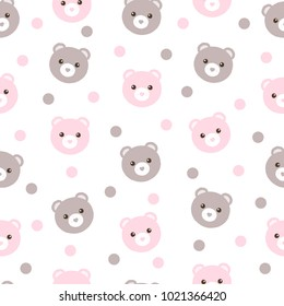 Seamless pattern of cute pastel pink and brown bears with polka dots. Great for children's textiles, bed linen, gift wrap and gender reveal parties.