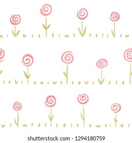 Seamless pattern with cute pink coral watercolor flowers. Cartoonish watercolour floral background