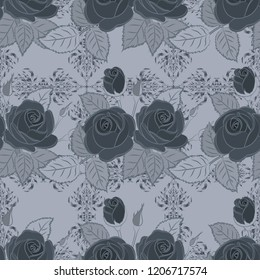 Seamless pattern with cute rose flowers and green leaves in blue, green and gray colors. Spring vintage floral background. Beautiful texture.