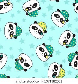 Seamless pattern with cute sleeping panda
