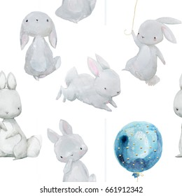 seamless pattern with cute watercolor white hares