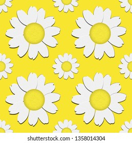 Seamless pattern of daisies for sipring and summer decoration.