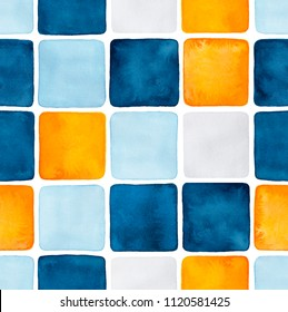 Seamless pattern of dark, light blue and orange colored watercolour squares. Handdrawn water colour graphic gradient paint on white backdrop. For design, wallpaper, web sites, banners, decoration.