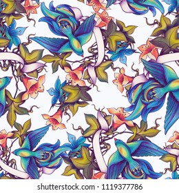 Seamless pattern with decorative birds, flowers and leaves. Handmade, colored pencils.