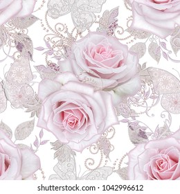 Seamless pattern. Decorative decoration, paisley element, delicate textured silver leaves made of thin lace and pearls, thread of beads, bud pastel pink rose, jeweler's butterfly Openwork weaving