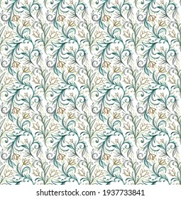 Seamless pattern with decorative flowers and leaves. Hand drawing background. Floral pattern for wallpaper or fabric. Watercolor flowers ornament.