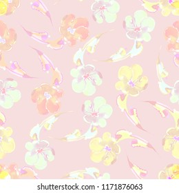 Seamless pattern decorative flowers  on pink background.