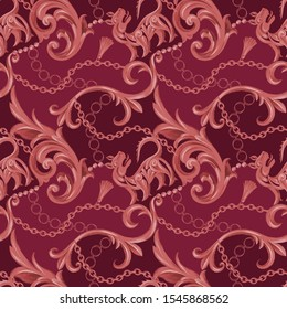 Seamless pattern with decorative heraldic lion and Baroque elements. Chain, border, frame, accessories and jewelry. Victorian, Rococo, Baroque style background.
