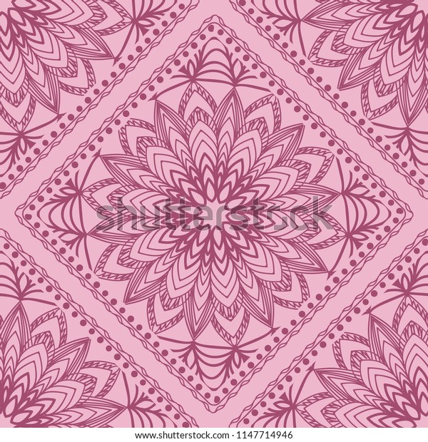 Seamless pattern with decorative mandala ornament. Hand drawn   illustration. For fashion design, print