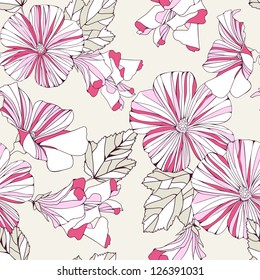 Seamless pattern with decorative  pink flowers on grey background.