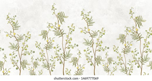 Seamless pattern of decorative plants with yellow flowers on a light background. Fresco, mural Wallpaper for interior printing.