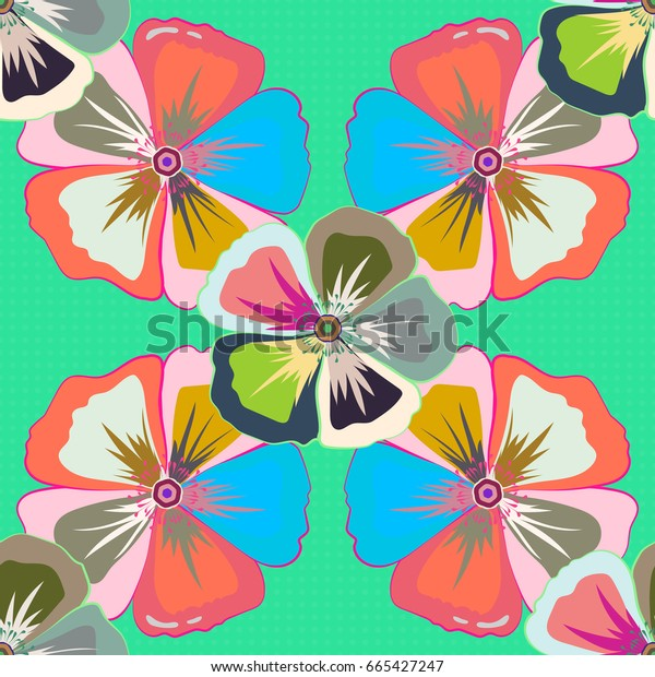 Seamless pattern with Decorative summer flowers in beige, pink and green colors, watercolor illustration.